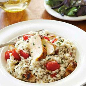 Green Olive Risotto with Chicken and Tomatoes