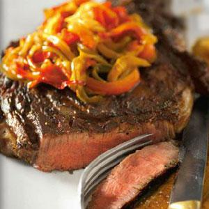 Grilled Steak with Hot Chili Peppers