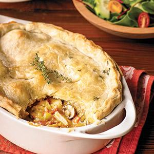 Coq au Vin Blanc Pot Pie with Black Pepper-Thyme Crust