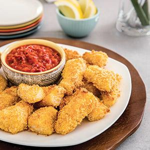 "Oven ""Fried"" Fish Sticks with Roasted Red Pepper-Tomato Dipping Sauce"
