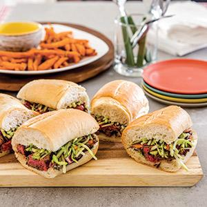 Warm Steak Tip Sandwiches with Vegetable Slaw