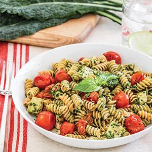 Pasta with Kale Pesto, Chicken, and Roasted Tomatoes