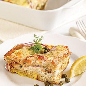 Overnight Smoked Salmon Strata