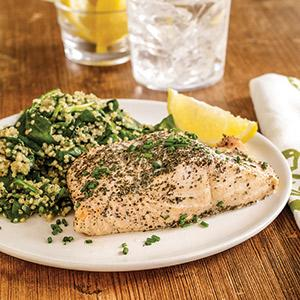 Green Tea-poached Salmon with Spinach and Quinoa