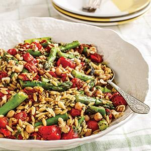 Spring Orzo with Tea-roasted Cherry Tomatoes