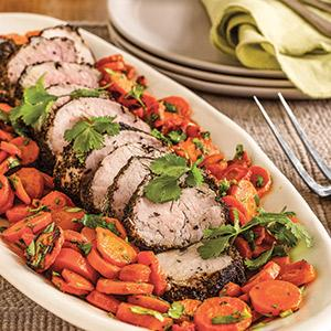 Darjeeling-Crusted Pork with Cilantro Roasted Carrots