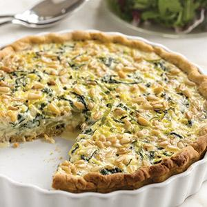 Goat Cheese and Arugula Quiche with Pine Nuts