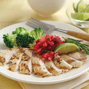 Rosemary Grilled Chicken with Strawberry Salsa