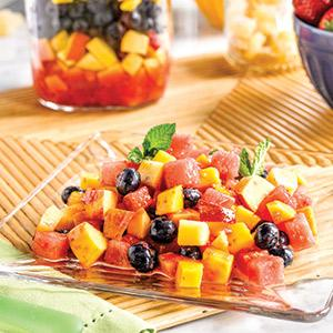 Summer Fruit Salad with Ginger-Strawberry Dressing