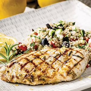 Grilled Lemon-Herb Chicken with Provencal Bulgur Pilaf