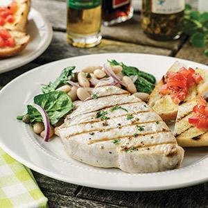 Swordfish with Red Onion Salad and Grilled Tomato Bread