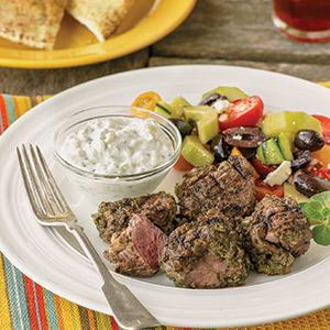 Herbed Lamb Skewers with Minted Tzatziki