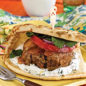 Indian Curry Turkey Burgers with Raita
