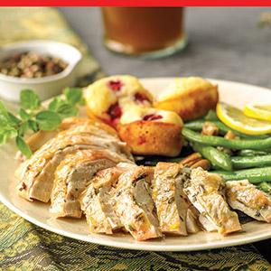 Roasted Chicken with Cranberry Cornbread Nuggets