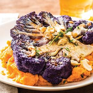 "Purple Cauliflower ""Steaks"" with Sweet Potato Puree"