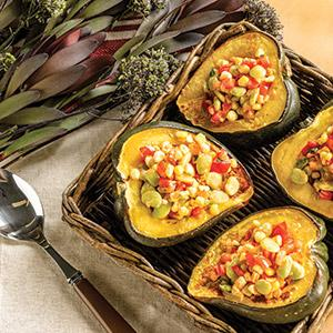 Succotash Stuffed Roasted Acorn Squash