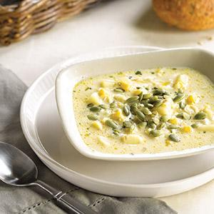 Corn Soup with Pumpkin Seeds