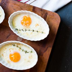 Shirred Eggs with Smoked Scamorza