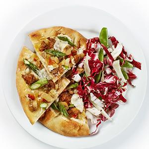 Mini Sausage Pizzas with Radicchio-Snap Pea Salad