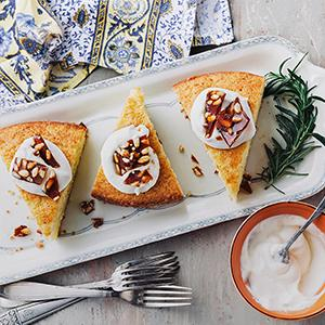 Rosemary-Olive Oil Cake with Citrus Cream and Pine Nut Brittle