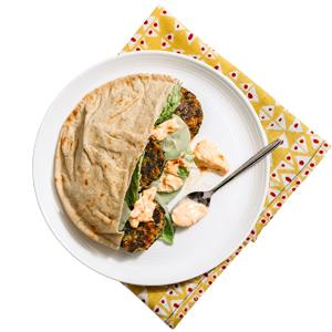 Falafel Pitas with Yogurt Sauce