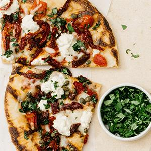 Grilled Sundried Tomato, Caper, and Ricotta Pizza