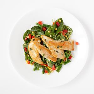 Basil Chicken with Succotash Salad