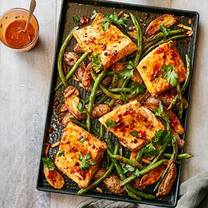 Sheet-Pan Salmon and Vegetables with Smoky Caper Vinaigrette