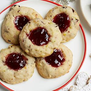 Double-Cherry Thumbprint Cookies