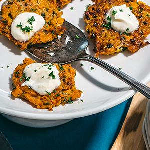 Baked Root Vegetable Latkes with Horseradish Cream