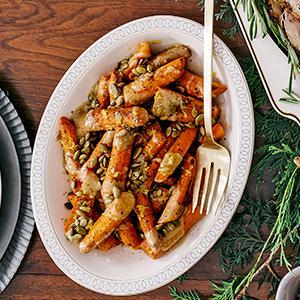 Spice-Roasted Carrots with Lemon-Tahini Sauce