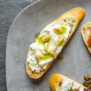 Whipped Ricotta Crostini with Basil Oil