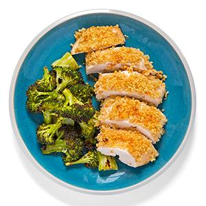 Quinoa-Crusted Chicken with Lemony Broccoli