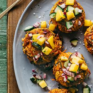 Chili-Lime Chicken Patties with Mango Salsa