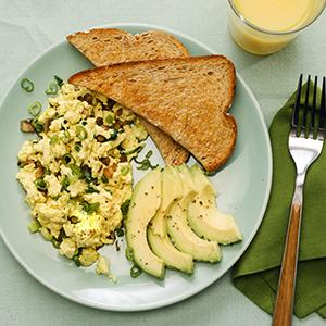 Tofu Scramble with Mushrooms and Scallions