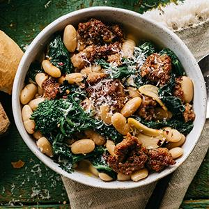 Tuscan White Beans with Sausage and Parmesan