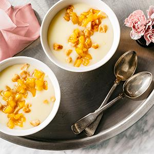 White Chocolate Pots de Creme with Caramelized Pineapple