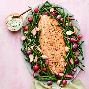 Slow-Roasted Salmon with Green Beans and Radishes