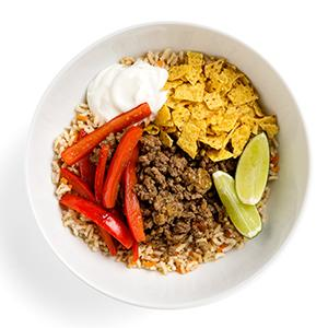 Beef and Rice Taco Bowl