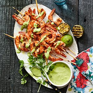 Peruvian-Style Shrimp Skewers with Green Sauce