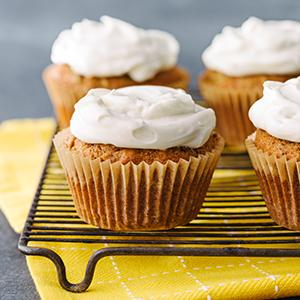 Spiced Zucchini Muffins with Yogurt Frosting