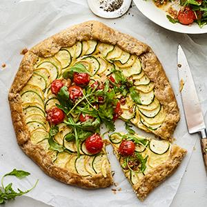 Zucchini Tart with Burst Tomato Salad