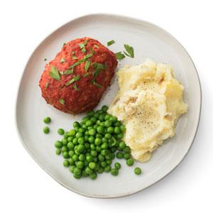Italian Turkey Meatloaves with Mashed Potatoes and Peas
