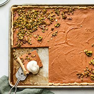 Pumpkin Slab Pie with Pepita Clusters and Maple Whipped Cream