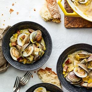 Steamed Clams with Sausage and Cider