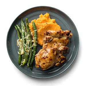 Glazed Chicken with Mashed Sweet Potatoes