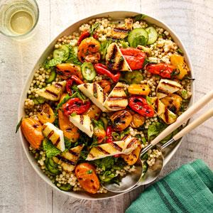 Israeli Couscous with Grilled Sweet Peppers and Halloumi