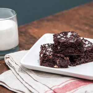 Olive Oil Brownies with White Chocolate Chips and Sea Salt