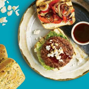 Fajita Burger with Grilled Onions and Peppers