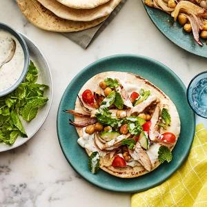 Chicken and Chickpea Pitas with Tzatziki and Herbs